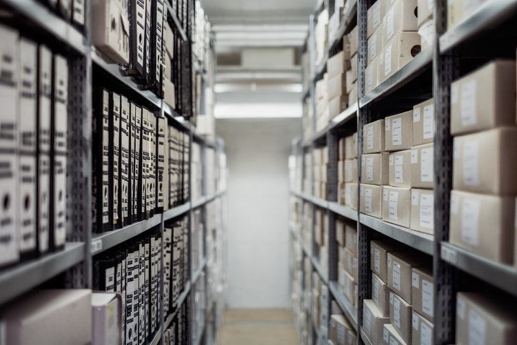 Packed shelves inside affordable storage units